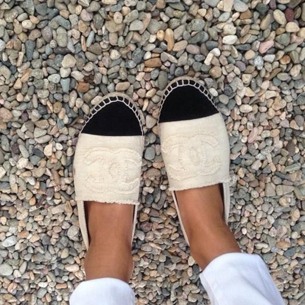 shoes canvas cream black chanel cute