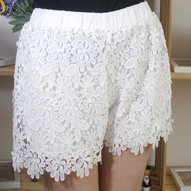 New! 2014 Daisy Korean high waist white crochet lace shorts culottes women's fashion was thin leggings shorts KH1323-in Shorts from Apparel & Accessories on Aliexpress.com