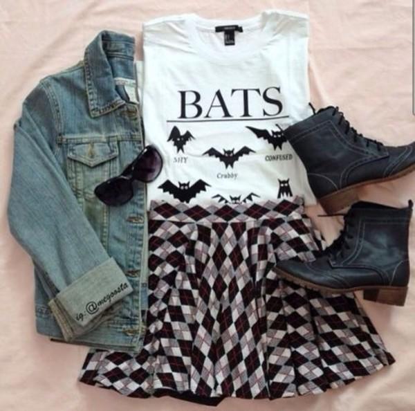 bats hipster grunge shirt