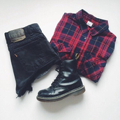 shirt,red shirt,boots,shorts,red,blue,DrMartens,black,short,top,blouse,combat boots,punk,shoes