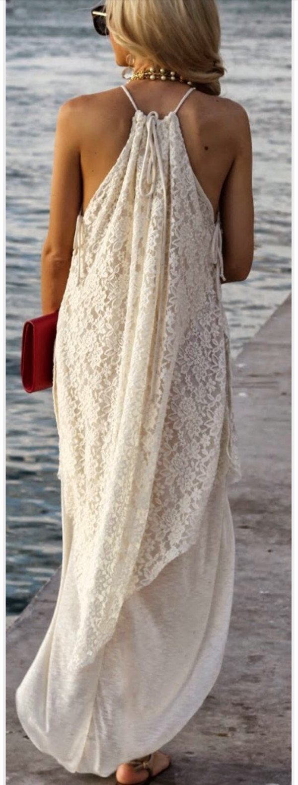 dress maxi lace dress maxi dress creame cream beige blonde hair wedding beach halter neck flowy white dress white lace dress lace maxi dress long dress white maxi dress flowy dress open back dresses hippie sleeveless beige dress sleeveless dress white lace maxi dress lace beach dress beach dress boho boho dress