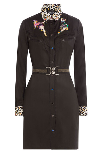 shirtdress embroidered black dress