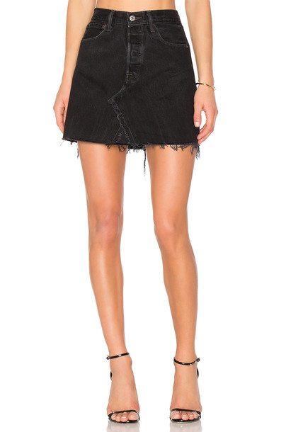 Re/Done skirt mini skirt mini high waisted high black