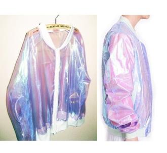 jacket grudge transparent iridescent bomber jacket