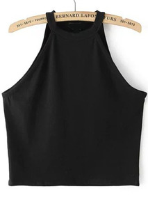 Halter Crop Black Tank Top