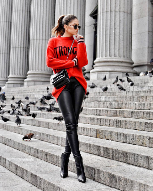 sweater tumblr red sweater pants black pants leather pants black leather pants boots black boots bag crossbody bag