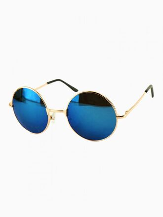 sunglasses lennon 60s style hippie rounded sunglasses gold frame blue lens