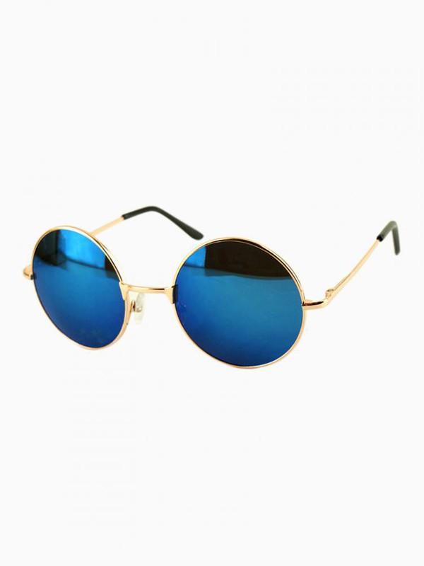sunglasses lennon 60s style hippie round sunglasses gold frame blue lens