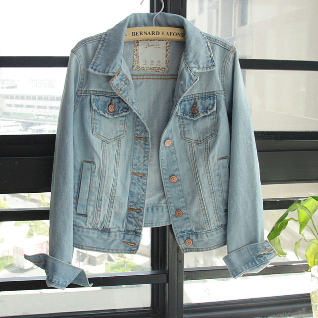 Free ship Euro Fashion CLASSIC Casual Long Sleeve Dark / Light Blue Denim Vest Jean Jacket, Women Cute Slim Jeans Outerwear Coat-inBasic Jackets from Apparel & Accessories on Aliexpress.com