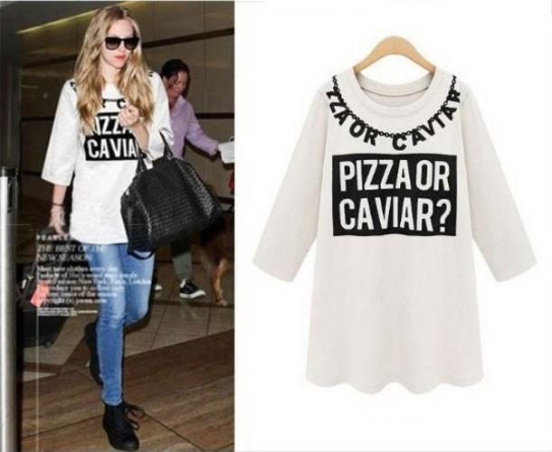 pizza or caviar summer 2015 tees dkny pizza pizza shirt caviar t-shirt  oversized t f442ffe8a83