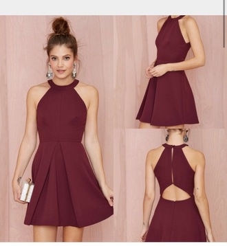 dress halter dress short dress burgundy dress
