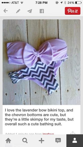 swimwear lavender bandeau swimsuit bandeau bow top bikini top bikini chevron