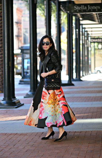 hallie daily blogger sunglasses midi skirt print perfecto skirt jacket bag shoes