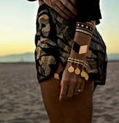 shorts,jewels,clothes,gold sequins,gold,print,pattern,accessories,jewelry,black and gold,summer bandana,temporary tattoo