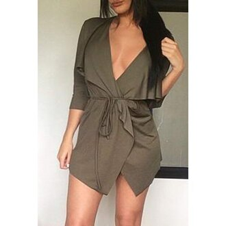 dress fashion style green fall outfits summer sexy elegant party casual dressy trendy cool long sleeves olive green clothes outfit v neck dress
