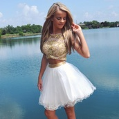 dress,top,crop tops,gold dress,prom dress,white dress,gold,white,two-piece,clothes,sparkle,formal,prom,skirt,matching set,homecoming dress,white and gold dress,cute dress,cute,beautiful,gorgeous,find exact