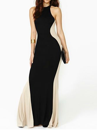 Sexy maxi contrast color bodycon dress
