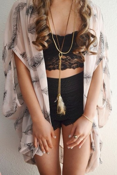 jewels feathers blouse pink sweater jacket flowy shorts