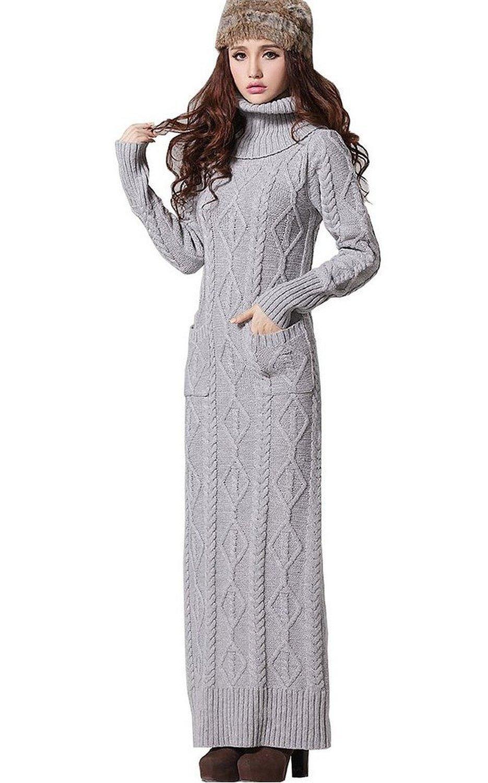 Amazon.com: woman's fashion turtleneck slim fit thicken warm woolen lengthen sweater dress: clothing