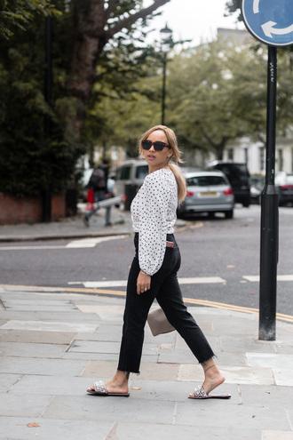 shirt black jeans tumblr polka dots white shirt denim jeans shoes slide shoes embellished sunglasses