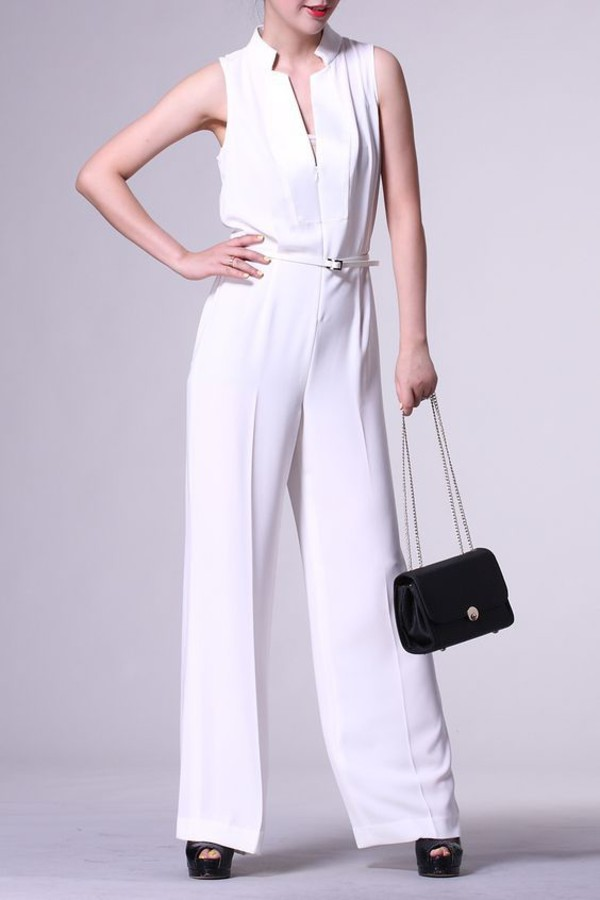 jumpsuit dezzal white sleeveless fashion trendy style casual white jumpsuit formal