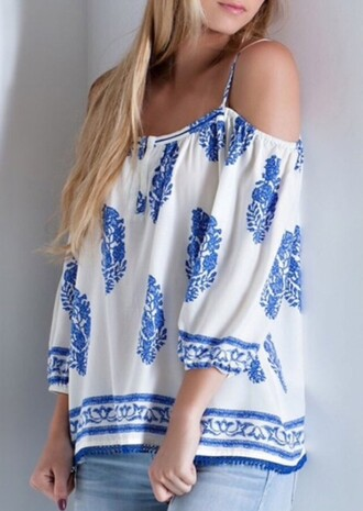 top blue white off the shoulder fashion style girly boho cute trendy clothes summer rose wholesale-jan
