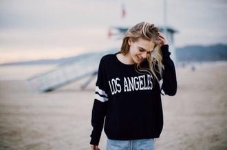 sweater los angeles black sweater california girl beauty