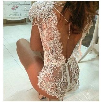 underwear romper open back bodysuit white wedding lace laced lingerie