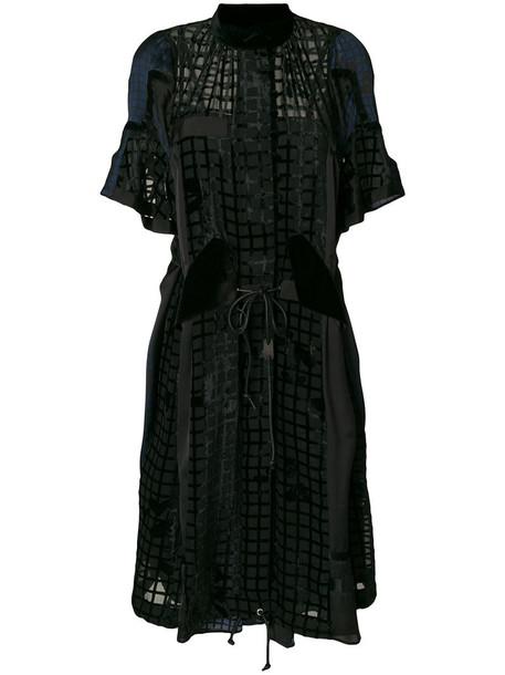 Sacai dress pleated dress pleated women black grid