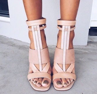 shoes hot sexy cool high sandal sandals summer heels high heels tan beige fashion style
