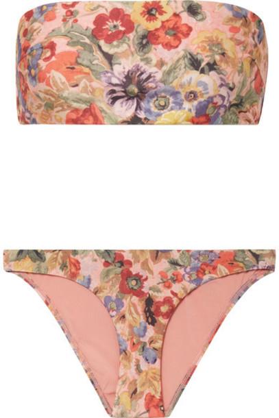 bikini bandeau bikini rose floral print swimwear