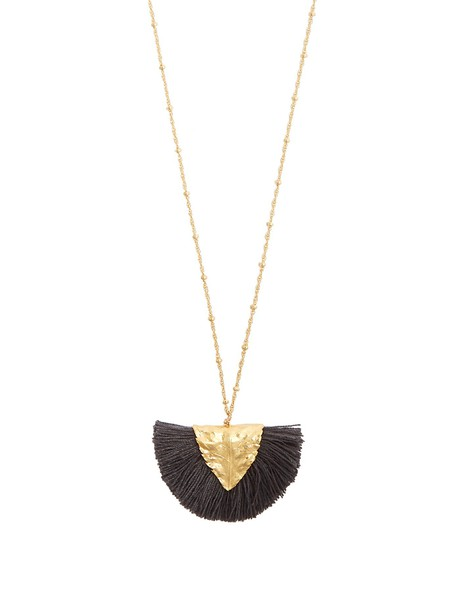 ELISE TSIKIS tassel necklace pendant grey jewels