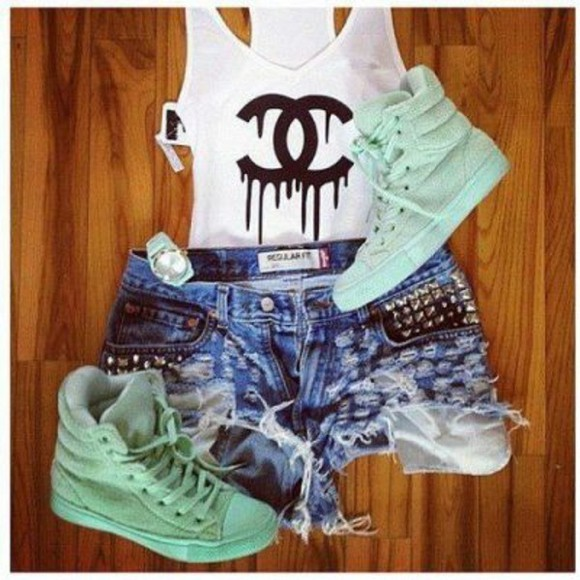 shoes high top sneaker chanel tshirt cut off shorts ripped shorts mint cute best summer time outfit swag