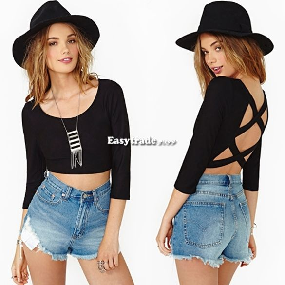 Womens Sexy Scoop Neck Backless Casual Blouse Tops Half Sleeve Crop Top T Shirt   eBay