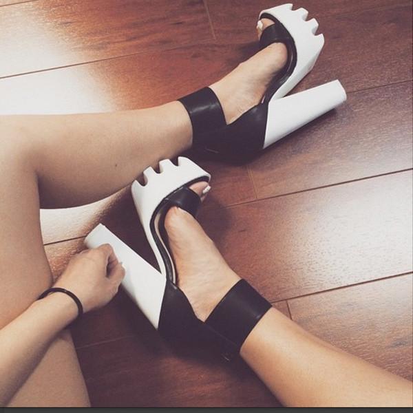 bc154f109c4 shoes cicihot heels high heels black lug sole  rugged sole shoegame open  toes spring heels.