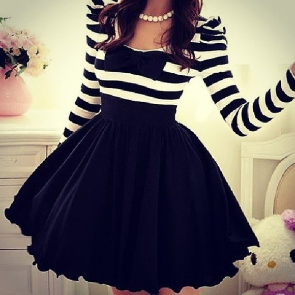 dress black adorable cute dress stripes bows white flirty skirt girly outfits tumblr