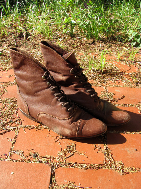 N e w brown leather boots size 65 by darger on etsy