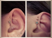 jewels,helix piercing,triple forward helix,triple helix,earrings,forward helix,jewelry,stud earrings