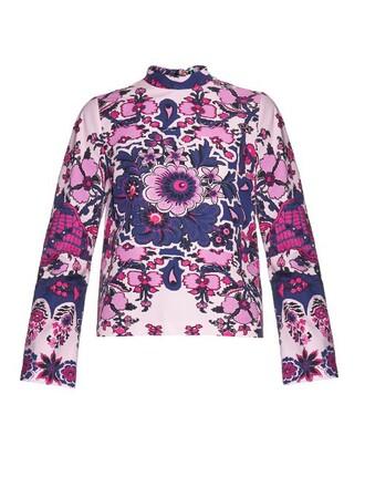 top high floral print pink
