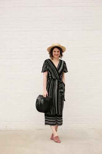 polishedclosets blogger jumpsuit bag shoes hat jewels cult gaia bag spring outfits mules