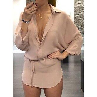 dress beige beige dress brown brown dress plunge v neck plunge dress plunge neckline long sleeves long sleeve dress asymmetrical asymmetrical dress
