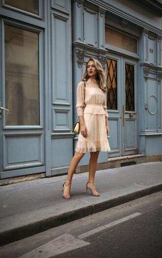 the classy cubicle blogger dress shoes bag jewels sandals high heel sandals beige dress spring outfits