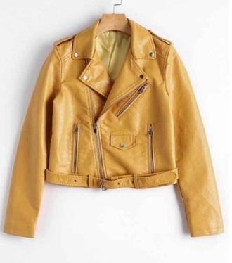 jacket girly biker jacket leather leather jacket yellow mustard