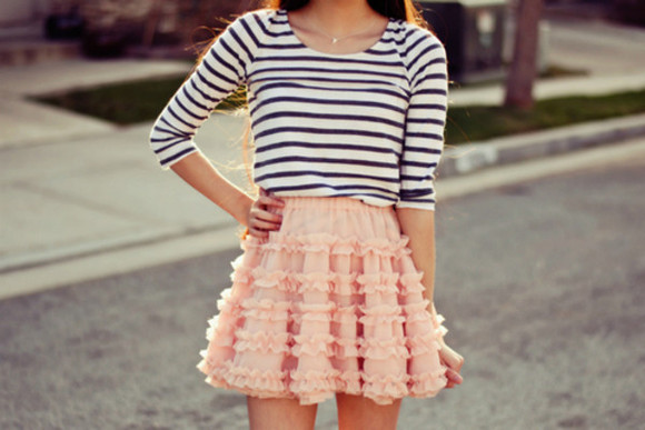 navy blue skirt cute style girly lace rose summer outfits floral