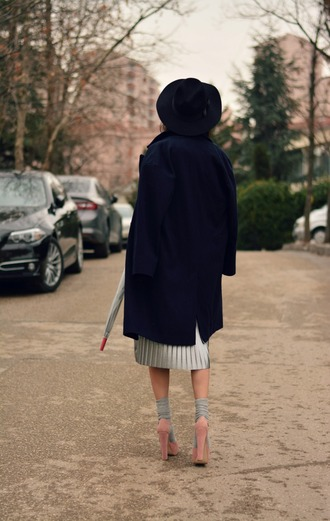 coat silver skirt socks tumblr blue coat navy coat navy skirt midi skirt pleated pleated skirt metallic pleated skirt metallic metallic skirt sandals sandal heels high heel sandals platform sandals pink sandals socks and sandals felt hat hat black hat