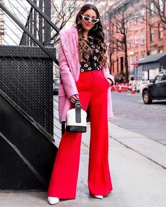 pants red pants shirt floral shirt coat pink coat sunglasses white sunglasses wide-leg pants cat eye