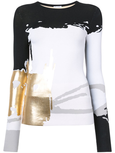 oscar de la renta top printed top metallic women black