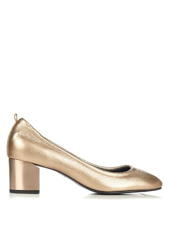 metallic pumps leather bronze shoes