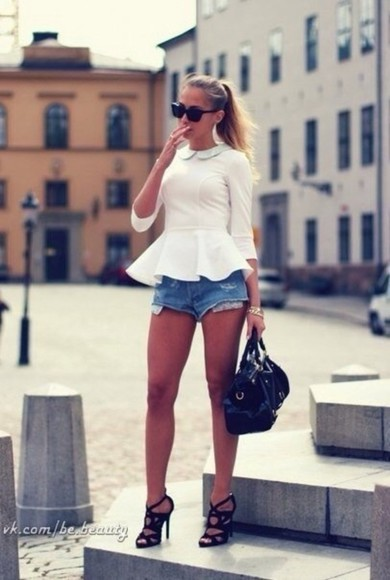 blouse white blouse shorts white