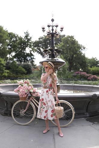 dress hat tumblr midi dress floral floral dress summer dress sun hat ballet flats flats belt bag shoes